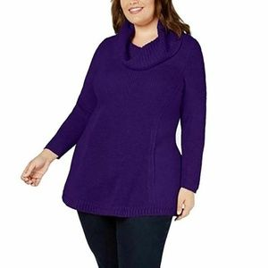 Style & Co Womens 0X I3-1Purple  Neck Long Sweater